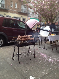 Meat on a spit next door to my apartment on Greek Independence Day.  And yes, it is hooked up to the mini van's battery.