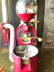 COFFEED's Coffee Roaster currently holds a disco ball but will soon be roasting beans in house!