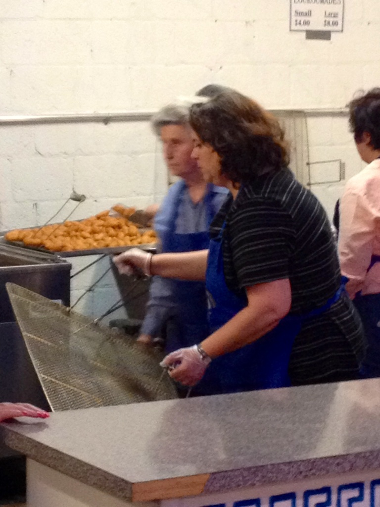 Church and School volunteers making Loukoumades