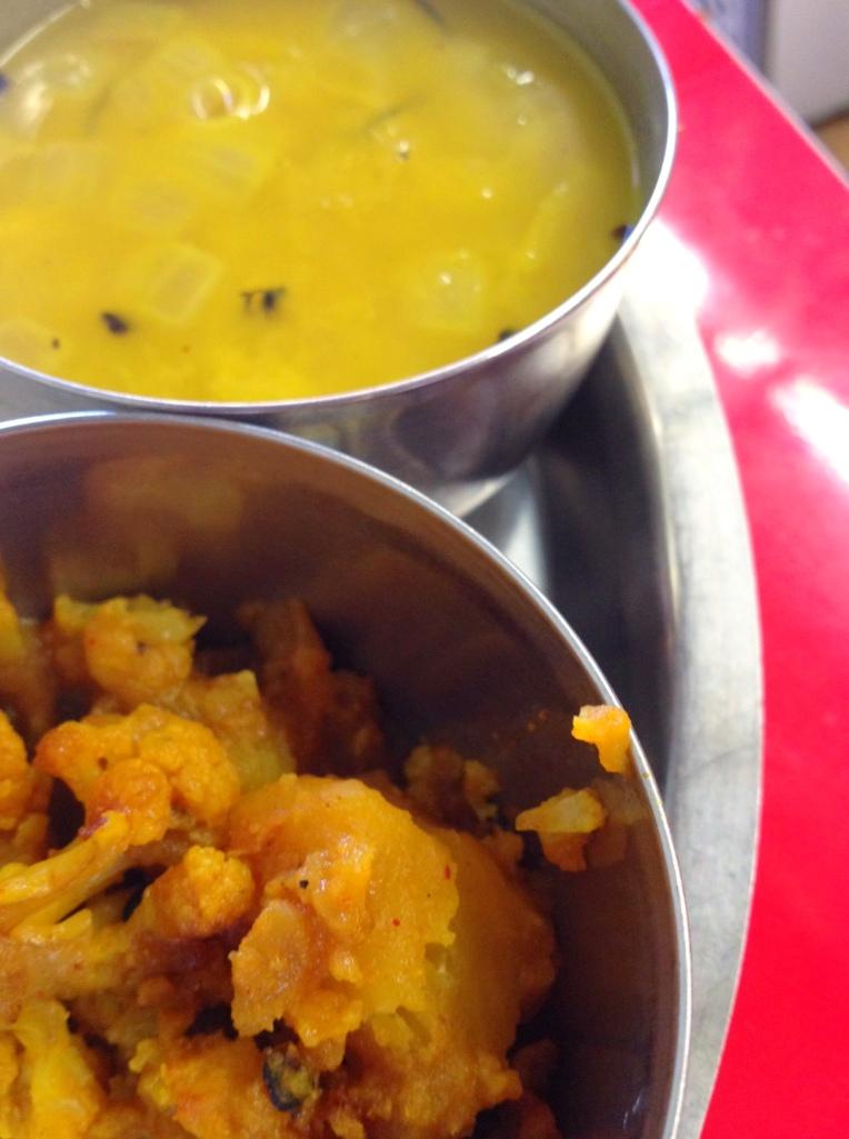 The milder sides - cauliflower and potato and daal at Dhauligiri Kitchen.