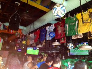 The joyous World Cup decor at El Basurero in Astoria