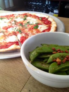 Snap Peas with a Pizza sneaking up on them
